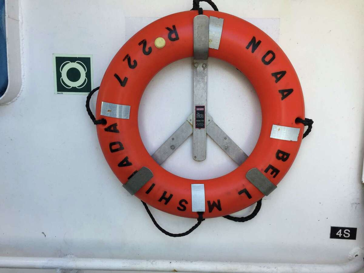 A life preserver hangs on the Bell M. Shimada research vessel.