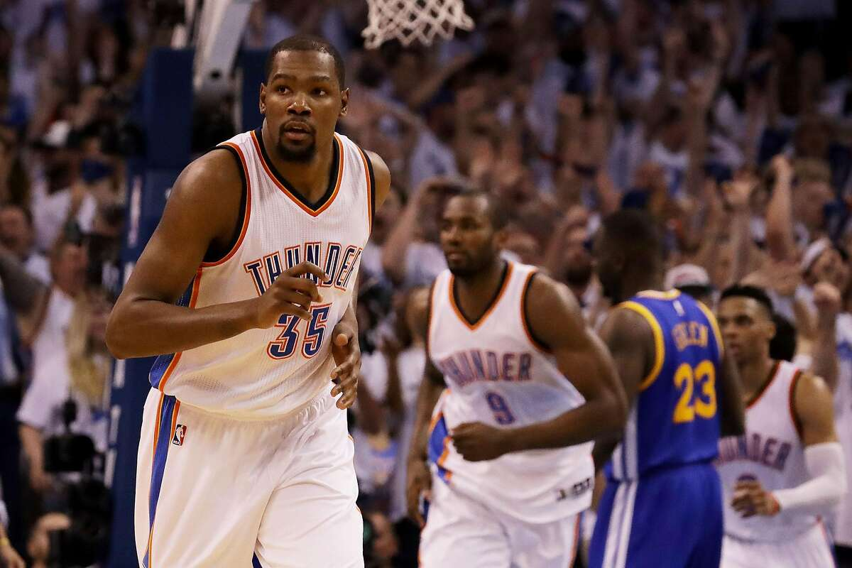 Kevin Durant #35 of the Oklahoma City Thunder reacts in the second quarter against the Golden State Warriors in game three of the Western Conference Finals during the 2016 NBA Playoffs at Chesapeake Energy Arena on May 22, 2016 in Oklahoma City, Oklahoma.