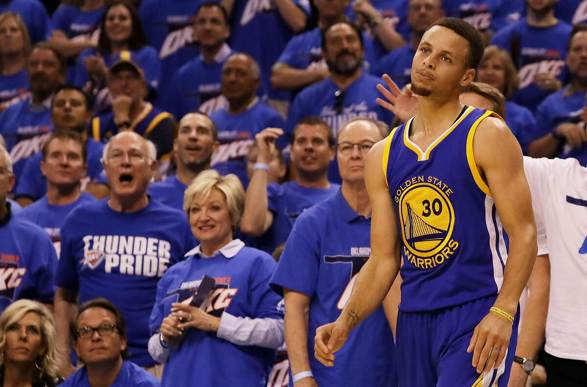 Stephen Curry of the Golden State Warriors reacts in the second quarter against the Oklahoma City Thunder in game three of the Western Conference Finals during the 2016 NBA Playoffs at Chesapeake Energy Arena on May 22, 2016 in Oklahoma City, Oklahoma.
