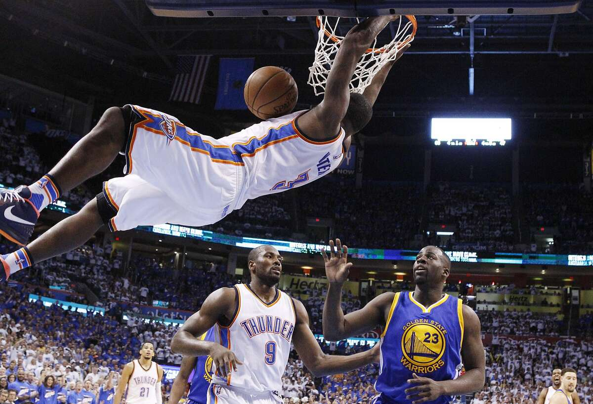 Oklahoma City Thunder guard Dion Waiters (3) dunks against the Golden State Warriors during the first half in Game 3 of the NBA basketball Western Conference finals in Oklahoma City, Sunday, May 22, 2016.