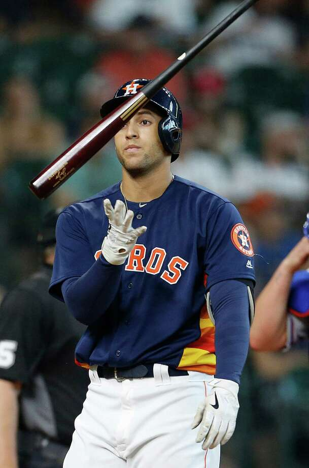 Houston Astros right fielder George Springer (4) reacts after striking out during the eighth inning of an MLB baseball game at Minute Maid Park, Sunday, May 22, 2016. ( Karen Warren  / Houston Chronicle ) Photo: Karen Warren, Staff / © 2016 Houston Chronicle