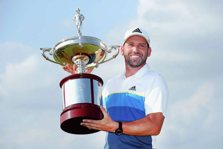 IRVING, TX - MAY 22:  Sergio Garcia of Spain poses with the trophy after winning the AT&T Byron Nelson at the TPC Four Seasons Resort on May 22, 2016 in Irving, Texas.  (Photo by Tom Pennington/Getty Images) Photo: Tom Pennington, Staff / 2016 Getty Images
