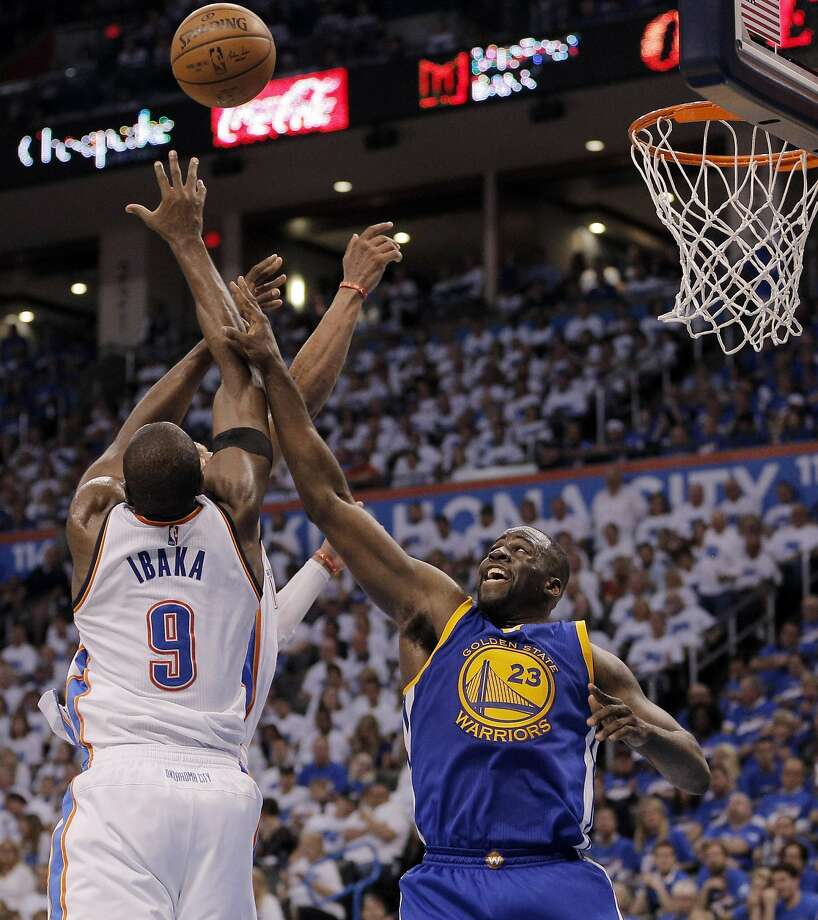 Draymond Green (23) is beaten to a rebound during the second half as the Golden State Warriors played the Oklahoma City Thunder in Game 3 of the Western Conference Finals  at Chesapeake Energy Arena in  Oklahoma City, Okla., on Sunday, May 22, 2016. Photo: Carlos Avila Gonzalez, The Chronicle