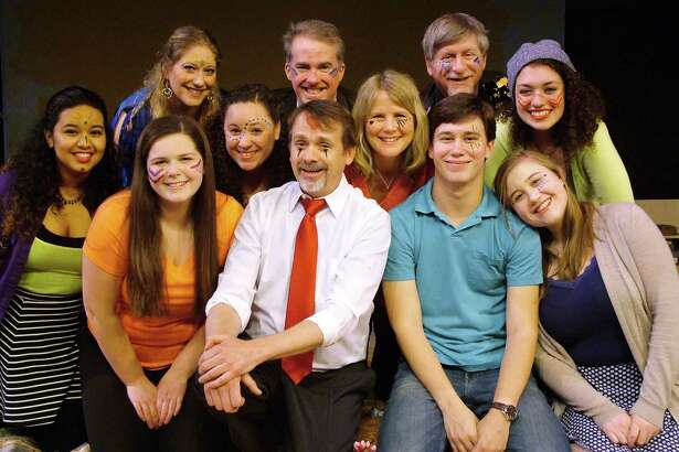 "The Westport Community Theatre's cast of ""Godspell"" includes, front row from left, Betzabeth Castro, Caitlin Brown, Jessica Braun, Norris Wakefield (Jesus), Rosalind Cormier, Tyler Campbell and Katherine Logan; and back row, Dena Lagonigro, Bill Warncke (Judas), Rob Pawlikowski and Emily Beers."