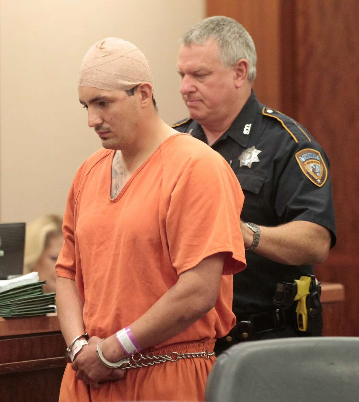 Jeremy Valdez is pictured Monday, May 23, 2016, during a hearing in Judge Denise Collins 208th State District Court. Three family members were killed when an Valdez, wanted for failing to comply with the terms of a previous DWI conviction ran a red light shortly after midnight in north Harris County, authorities said.