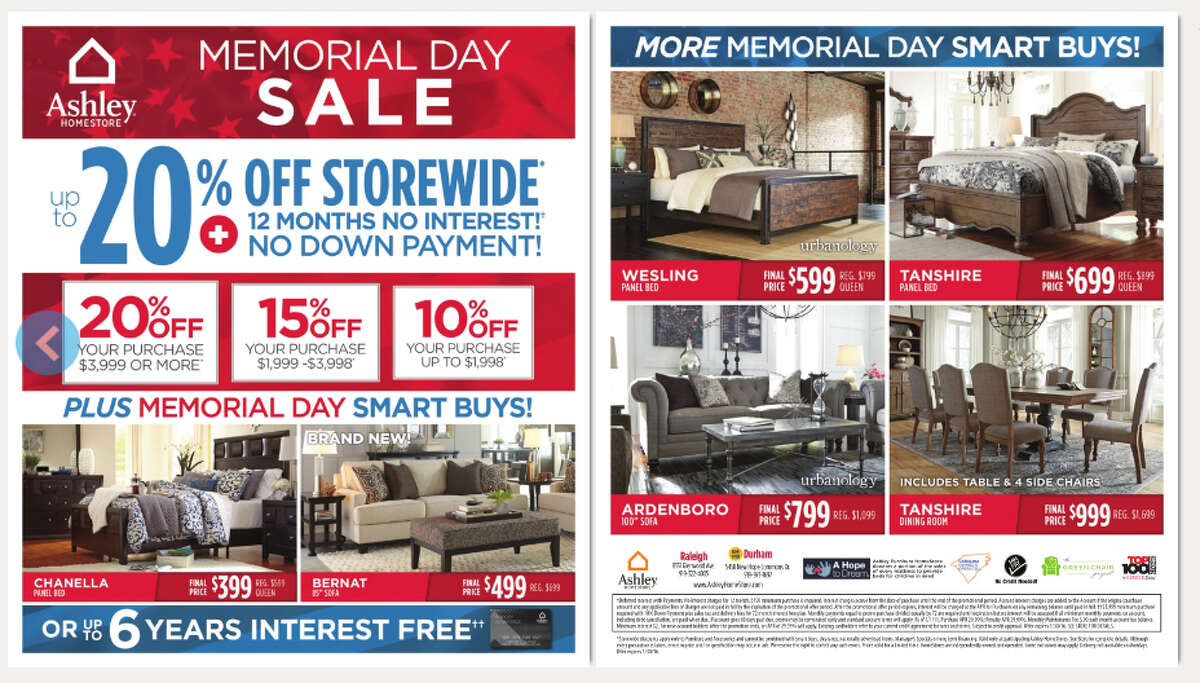 Ashley Furniture Up to 20% off storewide, 12 months no interest and no down payment