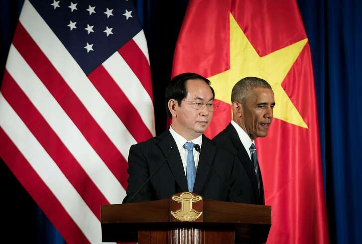 President Barack Obama and Vietnamese President Tran Dai Quang during a joint news conference at the International Convention Center in Hanoi, Vietnam, May 23, 2016. The U.S. is rescinding a decades-old ban on sales of lethal military equipment to Vietnam, Obama announced at a news conference in Hanoi on Monday, ending one of the last legal vestiges of the Vietnam War. (Doug Mills/The New York Times)