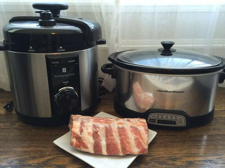 Pressure cooker on the left; slow cooker on the right