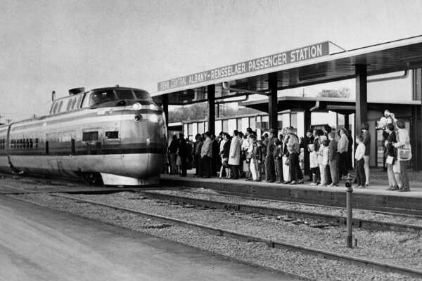 A Turbo Train arrives at Albany-Rensselaer station, April 20, 1969, in Rensselaer, N.Y. (Times Union archive)