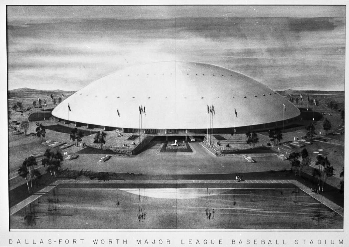 This was an architect's drawing of proposed multi-purpose stadium to be constructed mid-way between Dallas and Fort Worth in event a major league baseball franchise is granted in 1960. The architects were Broad and Nelson of Dallas and Preston M. Geren of Fort Worth.