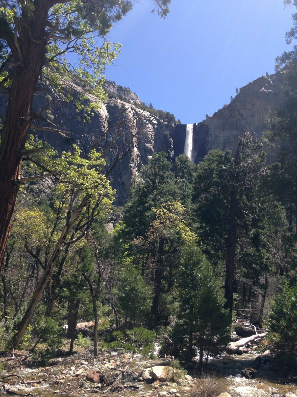 Bridalveil Fall as seen from the Yosemite Valley floor, May 2016.