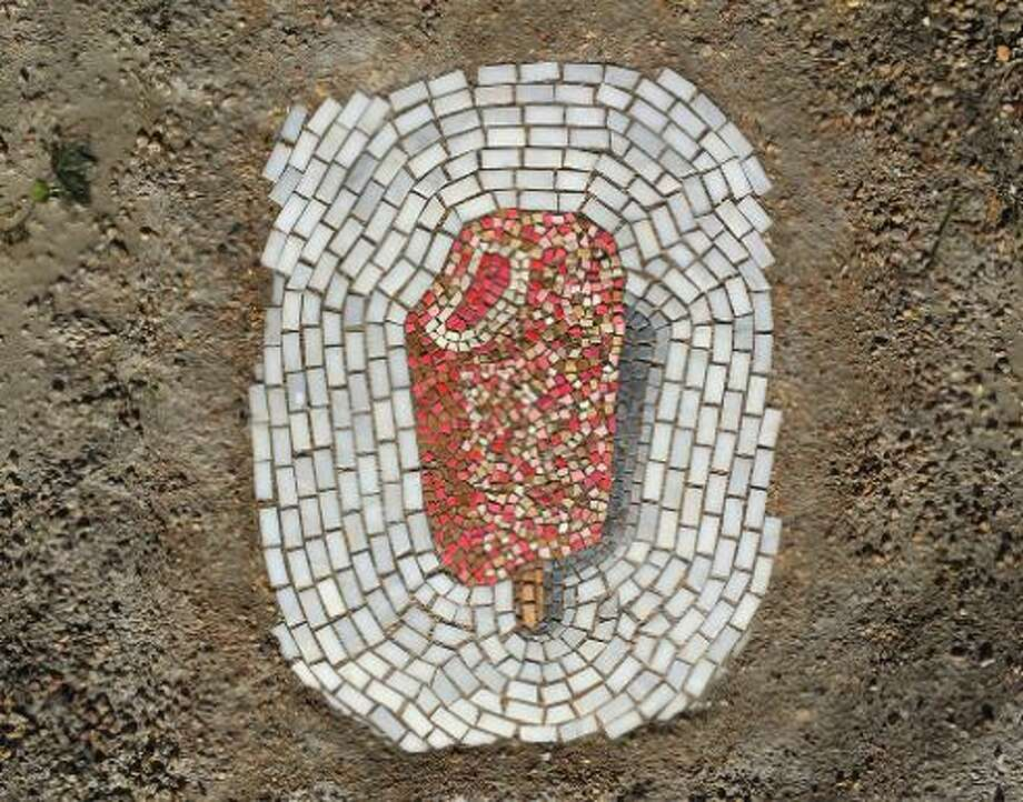 """Strawberry Shortcake,"" 2158 W 18th Place, Chicago. (For more of Jim Bachor's pothole art, scroll through the gallery.) Photo: Courtesy Artist Jim Bachor"