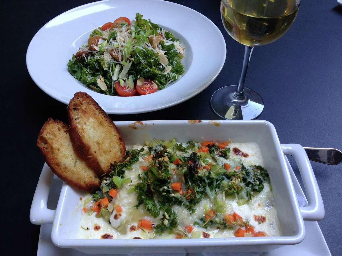 Mushroom lasagna with kale salad at MFA Cafe at Museum of Fine Arts, Houston.