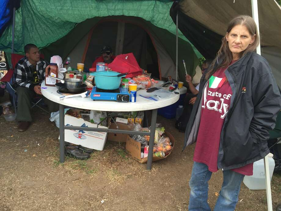 "Constance Gardipe lives in a small tent community on the eastern edge of Portland, Ore., that will soon be subject to a police sweep. She says people shouldn't have to pick up their homes and leave. ""The only difference is our home is a tent."" City officials say there has been crime and other problems in the area. Photo: Hal Bernton, TNS"