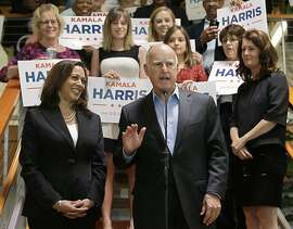 California Gov. Jerry Brown announces his endorsement of Attorney General Kamala Harris, left, for the U.S. Senate during a news conference at the California Democratic Party headquarters in Sacramento, Calif. Harris is running against fellow Democrat, Rep. Loretta Sanchez, among others, to replace Barbara Boxer who is retiring. (AP Photo/Rich Pedroncelli)