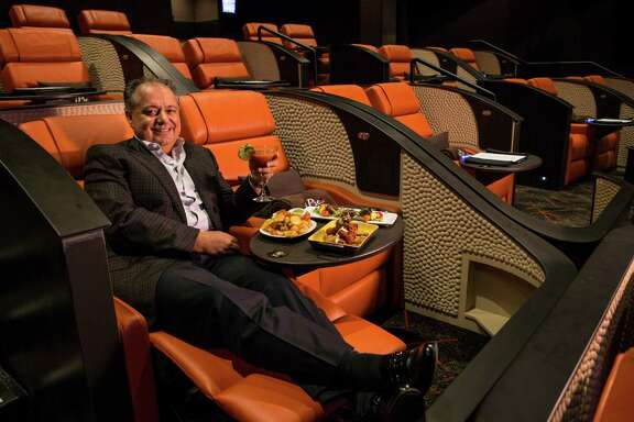 Hamid Hashemi, iPic Entertainment chief executive, sits in one of the reclining seats in one of the screening rooms at iPic Theaters on Thursday, Oct. 29, 2015, in Houston. ( Brett Coomer / Houston Chronicle )
