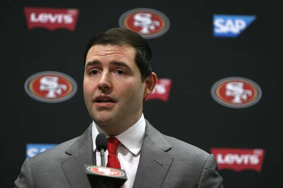 San Francisco 49ers CEO Jed York comments before Chip Kelly is introduced as the new head coach at a news conference at Levi's Stadium in Santa Clara, Calif. on Wednesday, Jan. 20, 2016.