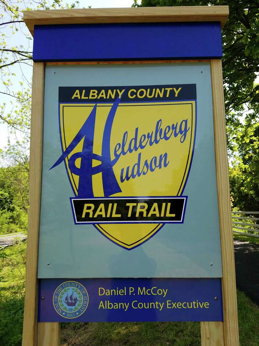 The sign for the Albany County Helderberg Hudson Rail Trail. May 23, 2016 (Cathleen F. Crowley/Times Union)
