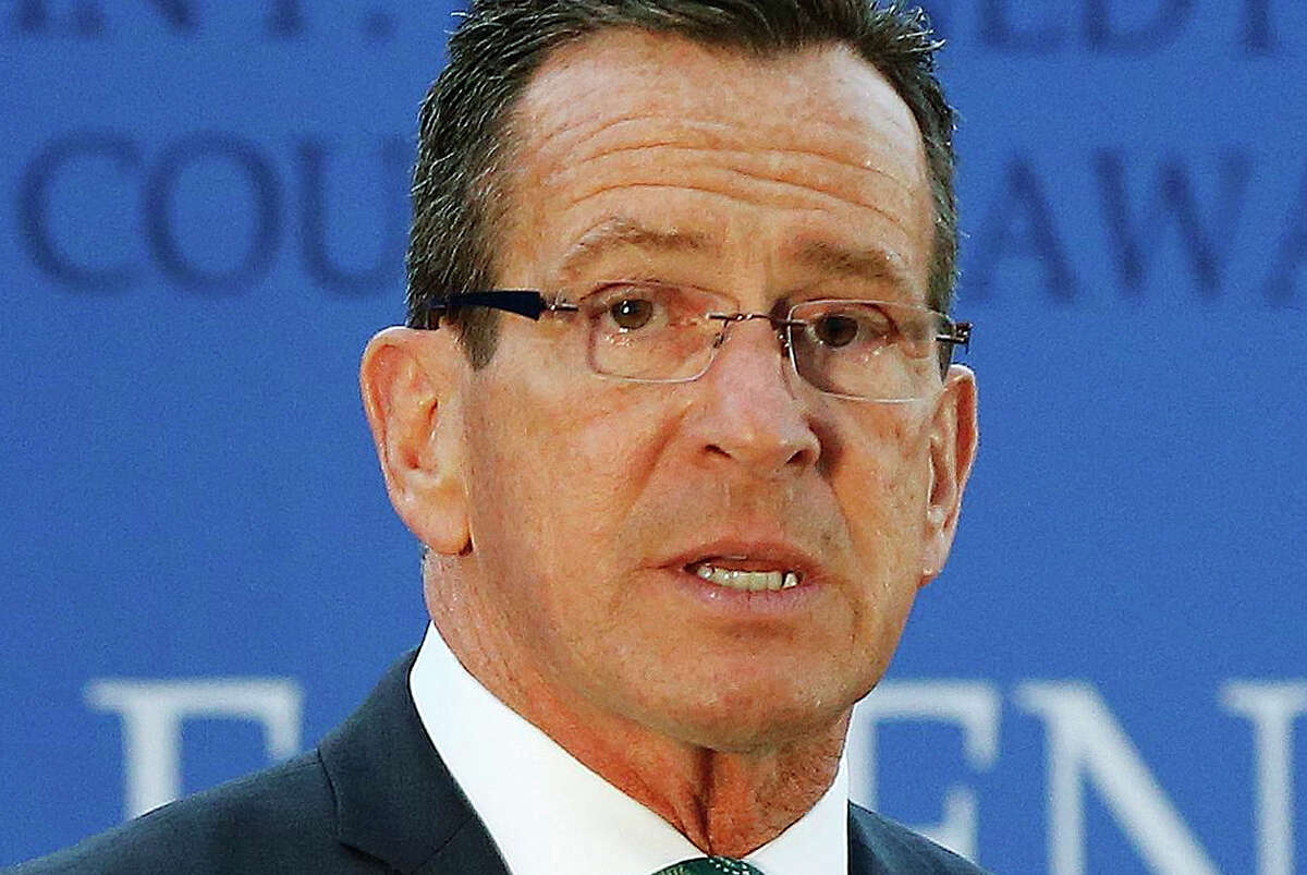 FILE - In this May 1, 2016, file photo, Connecticut Gov. Dannel P. Malloy speaks after receiving the John F. Kennedy Profile in Courage Award at the John F. Kennedy Presidential Library in Boston. (AP Photo/Michael Dwyer, File)