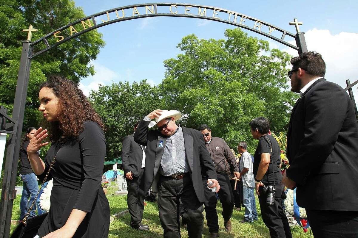 Raul Navaira, leaves the San Juan Cemetery in Berg?•s Mill after his brother, Tejano music superstar Emilio Navaira, III, is laid to rest at San Juan Cemetery in Berg's Mill, Monday, May 23, 2016. The funeral mass will be at San Fernando Cathedral. Navaira, 53, died suddenly on May 16 at his home in New Braunfels.