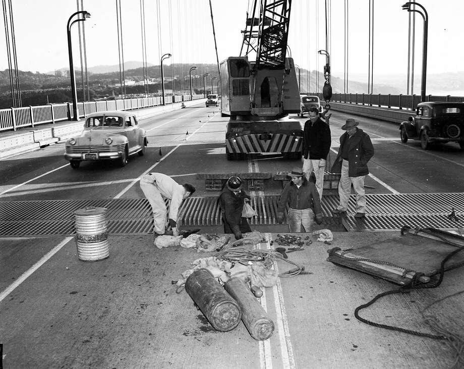 """Repairs to the """"safety pin"""" whose bushings had been broken were made over the last two weeks of December 1951. Photo: Art Frisch, The Chronicle"""