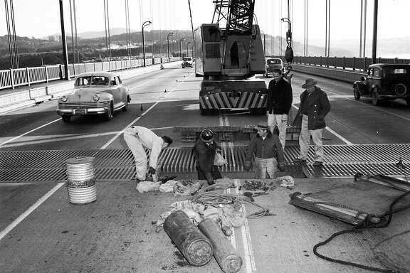 "The Golden Gate bridge was closed for the 3 hours the evening of December 1, 1951. It swayed several feet in each direction Repairs to the ""safety pin"" whose bushings had been broken, were made over the last two weeks of December 1951  Photo ran 12/10/1951"