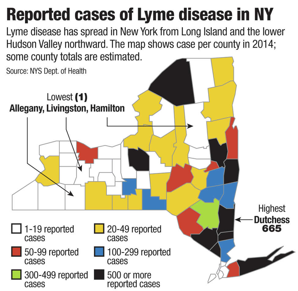 Reported cases of Lyme disease in NY Lyme disease has spread in New York from Long Island and the lower Hudson Valley northward. The map shows case per county in 2014; some county totals are estimated. Source: NYS Dept. of Health Jeff Boyer / Times Union
