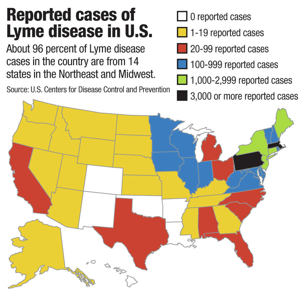 Reported cases of Lyme disease in U.S. About 96 percent of Lyme disease cases in the country are from 14 states in the Northeast and Midwest. Source: U.S. Centers for Disease Control and Prevention Jeff Boyer / Times Union