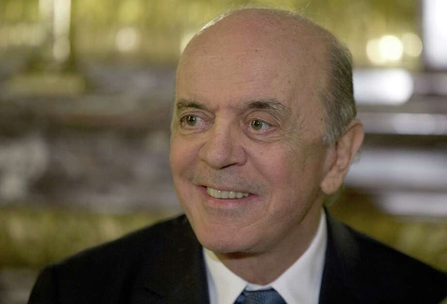 Brazil's acting Foreign minister Jose Serra smiles during a press conference in Buenos Aires, Argentina, Monday, May 23, 2016. Serra is on his first state visit since being appointed in the wake of Brazilian President Dilma Rousseff's impeachment. (AP Photo/Natacha Pisarenko) Photo: Natacha Pisarenko, STF / AP