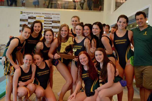 The Greenwich Academy water polo team celebrates winning the Liquid Four tournamnet, which serves as the New England championship, over the weekend at Brunswick School.