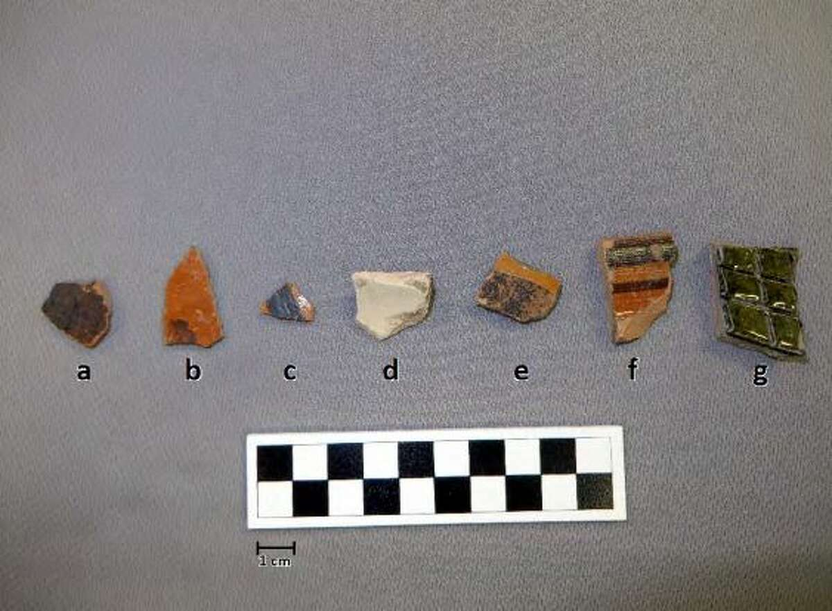 Lead glazed sherds encountered at the site. From left to right: a) Unknown Sandy Paste, b-c) Galera, d) Olive Jar, e) Yellow Glaze, f) Unknown, g) Green Lead Glaze (molcajete).