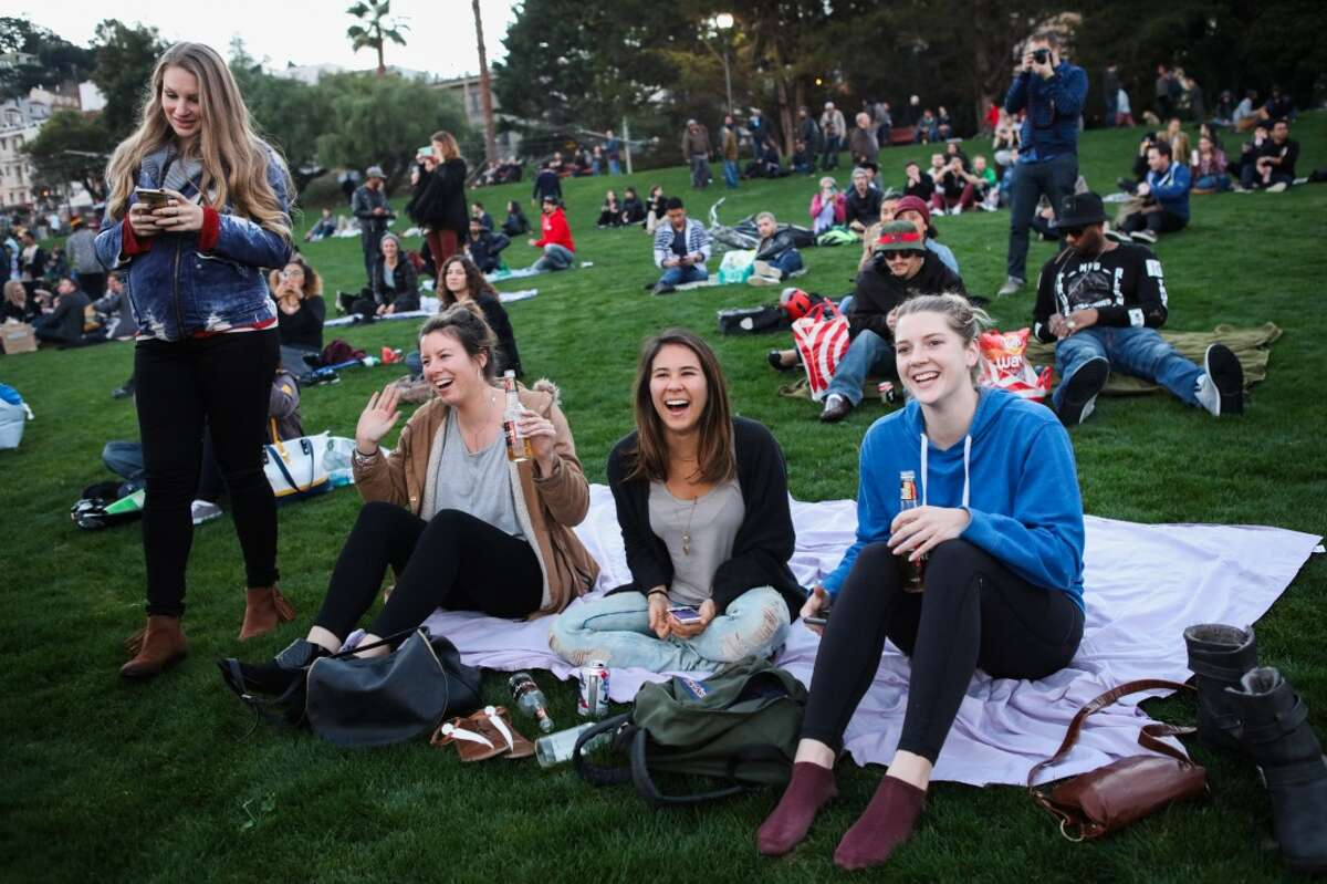 Crowds of friends gathered to celebrate the reopening of Dolores Park in San Francisco, California on Wednesday, January 27, 2016.