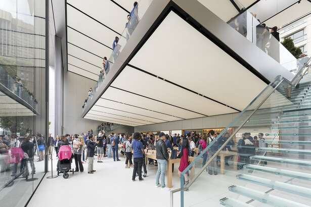 The new Apple Store at Union Square on opening day, May 21, 2016.