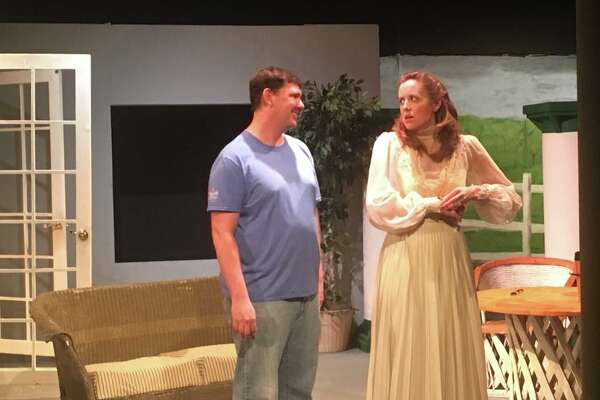 """Matt Schell portrays C. K. Dexter Haven and Mary Andrechik plays Tracy Lord in Clear Creek Community Theatre's production of """"The Philadelphia Story.""""       Matt Schell portrays C. K. Dexter Haven and Mary Andrechik plays Tracy Lord in Clear Creek Community Theatre's production of """"The Philadelphia Story."""""""