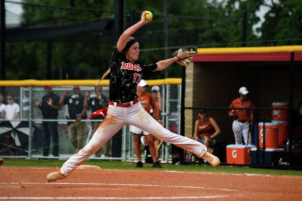 Katy pitcher Chloe Cobb works to an Alvin hitter in Game 3 of their Region III-6A semifinal playoff win last week.