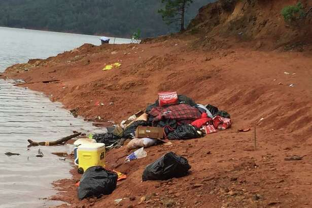 A photo of the garbage left behind by University of Oregon students at Lake Shasta over the weekend of May 21, 2016.