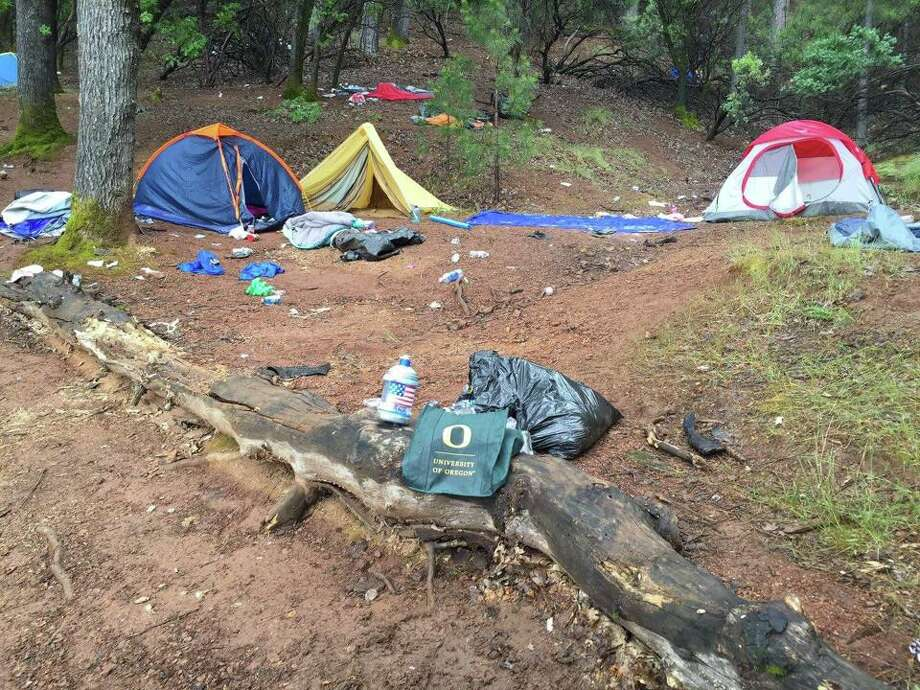 A photo of the garbage left behind by University of Oregon students at Lake Shasta over the weekend of May 21, 2016. Photo: Jennifer Vick Cox/Courtesy