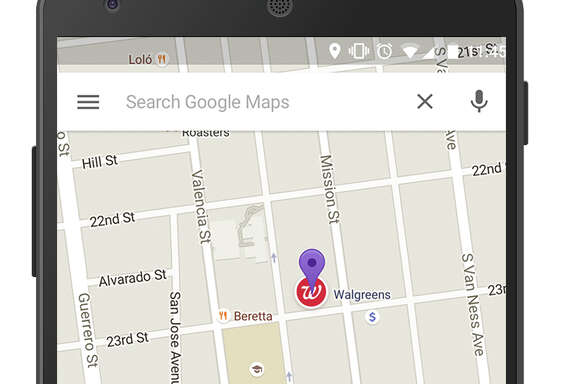 """This screen grab shows an ad called a """"promoted pin,"""" which highlights a Walgreens along a route on Google Maps. Google has displayed text ads alongside its online maps for several years. But the change announced Tuesday marks the first time the Internet company has inserted the equivalent of a digital billboard into the directions map itself."""