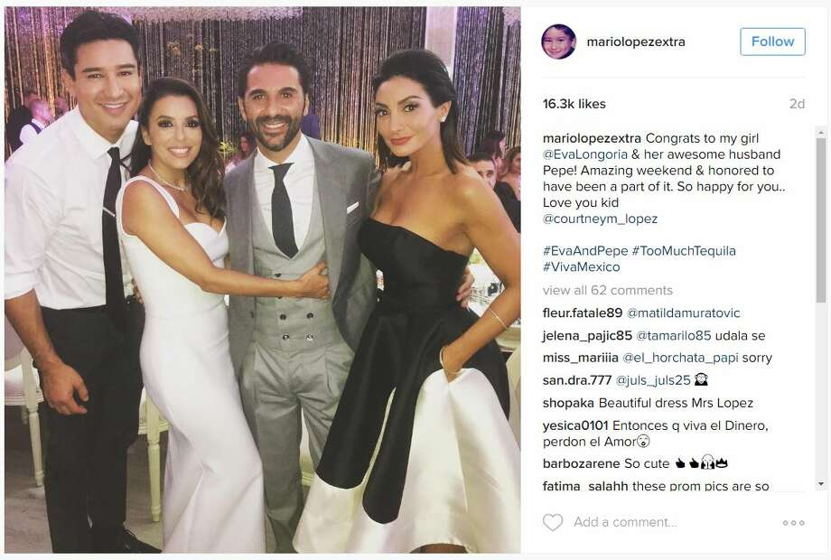 Eva Longoria and several other celebrities shared photos of her nuptials to Instagram. The photos show off the ceremony and the days following the wedding. Photo: Courtesy/Instagram
