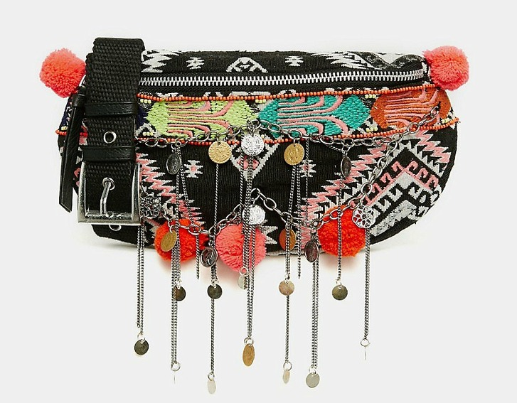 Zig where others zag. ASOS' Geo-Tribal Fanny Pack with Poms and Chain Detail frontloads the bohemian style�aka multicolored embroidery, chain tassels and coin charms�but doesn't skimp on utility, with its adjustable waist strap, zip closure and zip interior pocket. ($41, us.asos.com).