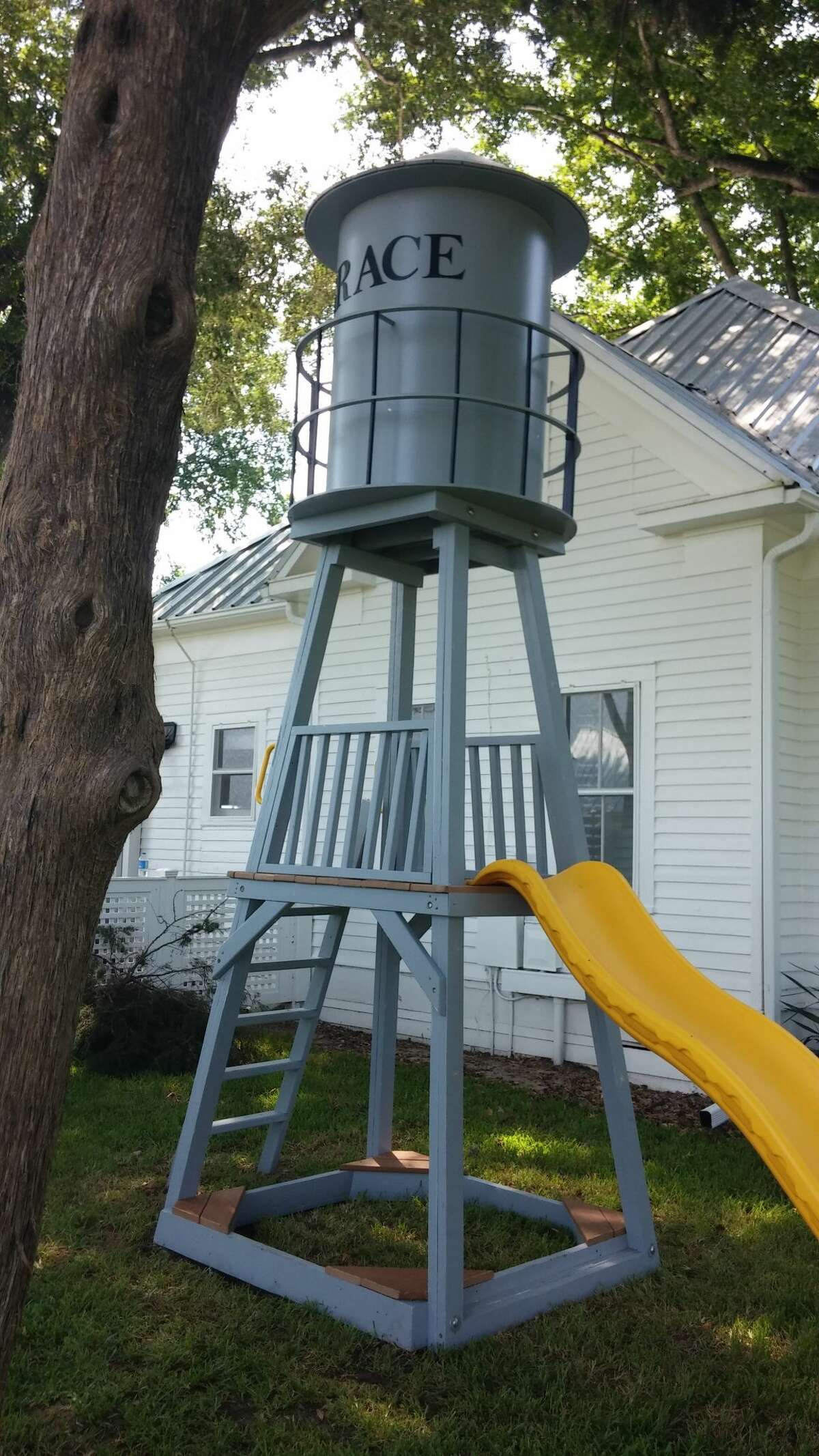"""A """"Grace"""" water tower was added to the grounds of """"Grace Hall,"""" in Bellville, pulling the country scene together."""