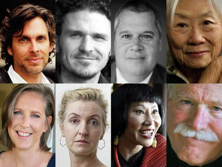 Among the Bay Area authors who have signed an open letter opposing Donald Trump are (clockwise, from top left) Michael Chabon, Dave Eggers, Daniel Handler, Maxine Hong Kingston, Tobias Wolff, Amy Tan, Rebecca Solnit and Mary Roach.