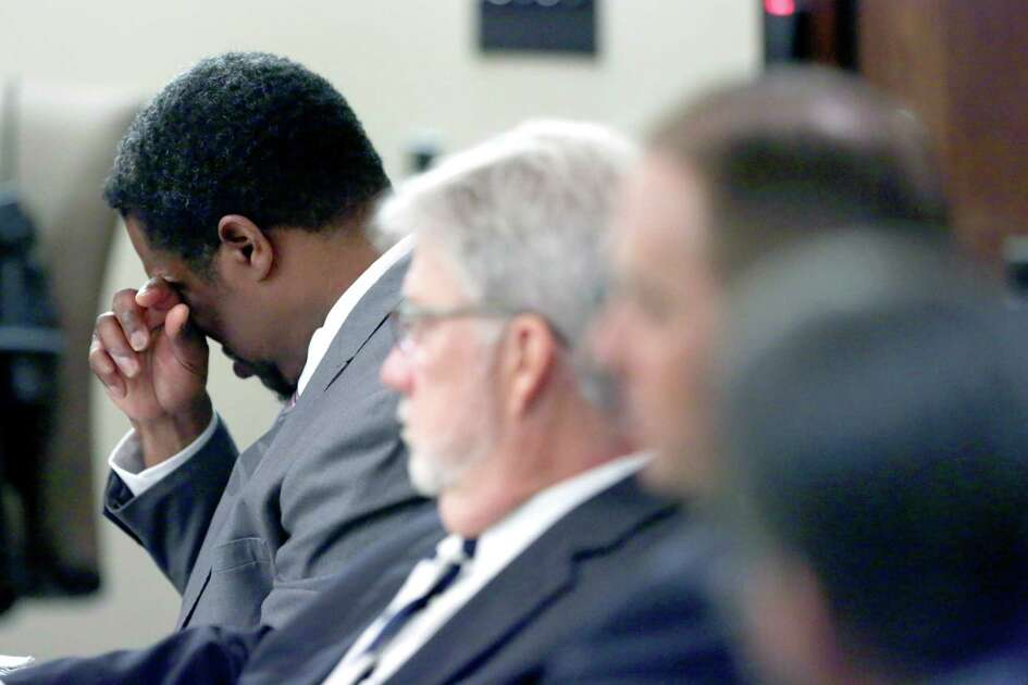 Former Bexar County Sheriff Deputy Anthony Lamont Thomas wipes his face Tuesday, May, 24, 2016 during closing arguments in his murder trial. Thomas was accused in the Aug. 31, 2013 shooting death of Mathew Jackson that occurred after the two men were involved in a minor car accident. Thomas's lawyers claimed self defense during the trial.