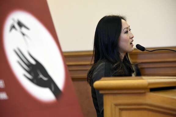 San Francisco supervisor Katy Tang speaks after receiving an award during a San Francisco Collaborative Against Human Trafficking ceremony held at City Hall in San Francisco, CA on Tuesday, January 12, 2016.