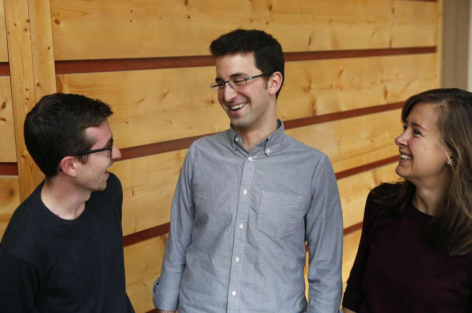 Co-founders of Circadian Design, Matt Crowley (left), head of product; CEO Matt Blum; and Lauren Meleney, chief operating officer, at their S.F office. Photo: Leah Millis, The Chronicle