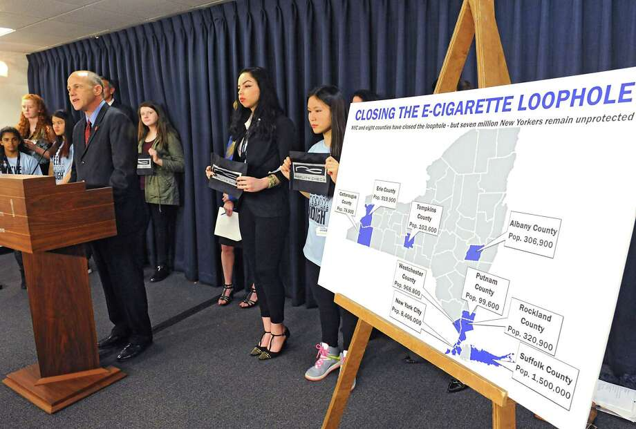 Kevin O'Flaherty, director of advocacy, Northeast Region Campaign for Tobacco-Free Kids, speaks during a press conference where health advocates pushed for passage and enactment of state legislation that will include e-cigarettes in New York StateOs Clean Indoor Air Law at the Legislative Office Building on Tuesday, May 24, 2016 in Albany, N.Y. (Lori Van Buren / Times Union) Photo: Lori Van Buren / 20036708A