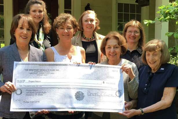 A $10,000 Ruegg Grant from the Westport Woman's Club to Project Return was presented in a brief ceremony recently. On hand were, Laura Bard, Project Return development director, and Tessa Gilmore-Barnes, interim director, front row left, receiving the check from WWC Community Services Chairwoman Mary Gladden, and Jo Luscombe, front row right. Looking on, second row, WWC Ruegg Committee's Dorothy Packer and Nancy Saipe on either side of Dorothy E. Curran, WWC president.  Missing from the photo is Barbara Stemmer, WWC second vice presiident for finance.