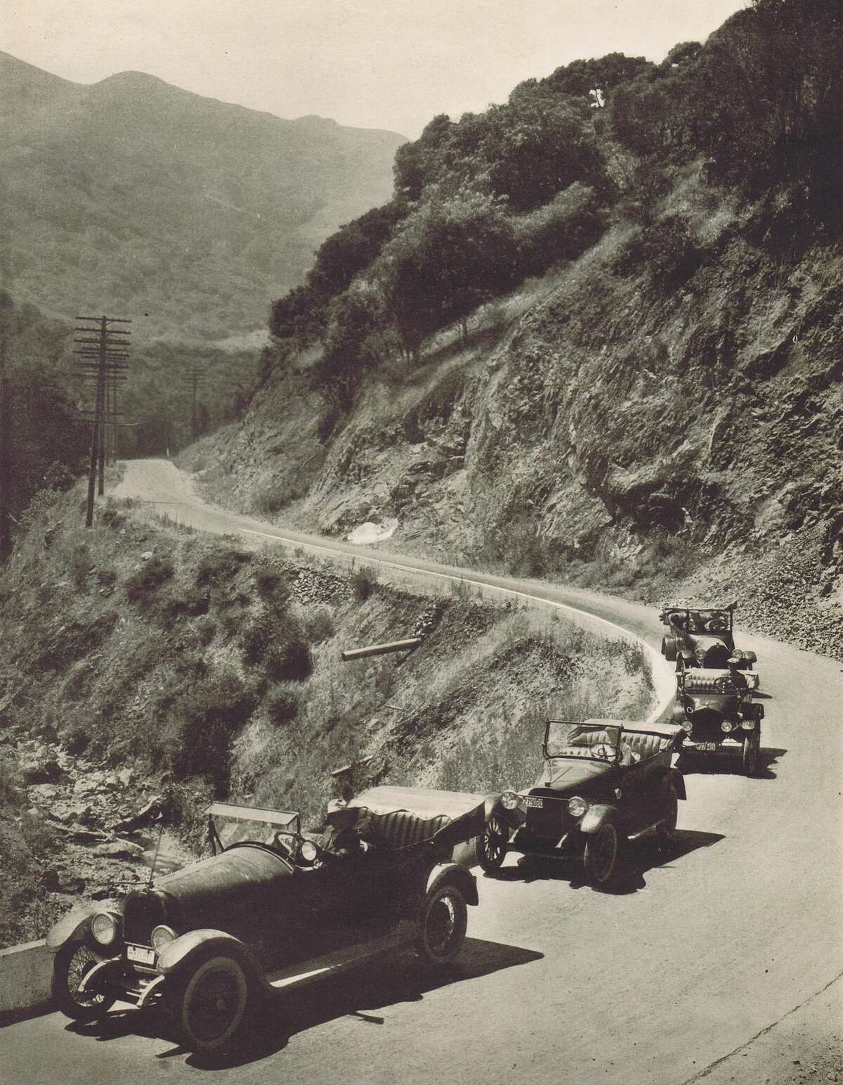Driving along Skyline in Berkeley, CA in 1916. This is possibly Sibley Volcanic Regional Park along East Bay Skyline Drive.
