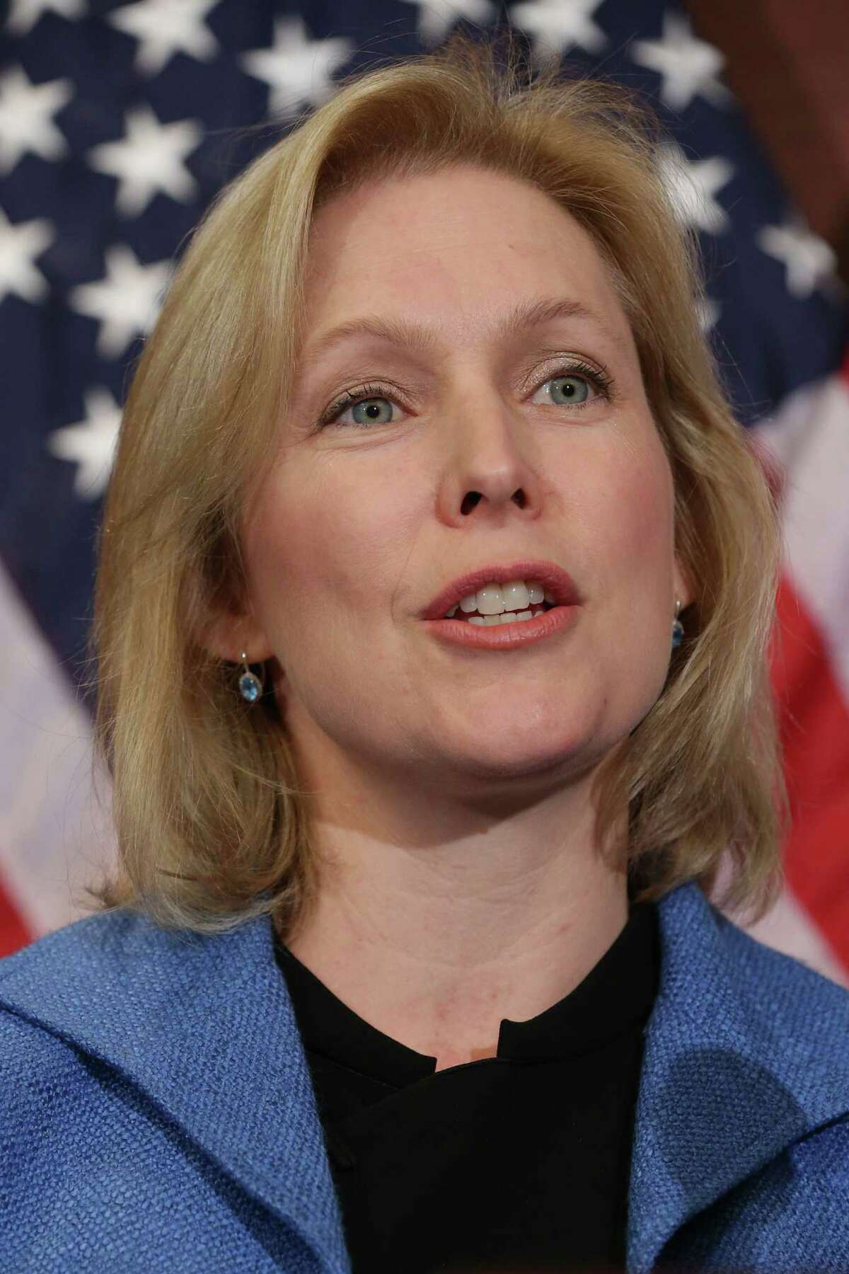 WASHINGTON, DC - JULY 30: Sen. Kristen Gillibrand (D-NY) participates in a news conference about new legislation aimed at curbing sexual assults on college and university campuses at the U.S. Capitol Visitors Center July 30, 2014 in Washington, DC. With strong bipartisan support in the Senate, the bill would require schools to make public the result of anonymous surveys about campus assaults and impose significant financial burdens on universities that fail to comply with some of the law's requirements. (Photo by Chip Somodevilla/Getty Images)