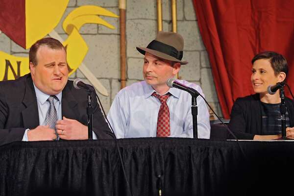 """From left, Rob Gavin, Michael Carrese and Elizabeth Benjamin perform a news break during rehearsal night for this year's Legislative Correspondents Association show """"Downton Andy"""" in the Convention Center at the Empire State Plaza on Monday, May 23, 2016 in Albany, N.Y. (Lori Van Buren / Times Union)"""